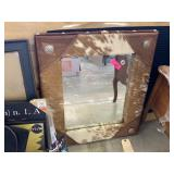 LARGE COW HIDE MIRROR W CONCHO ACCENTS