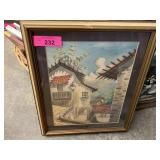 FRAMED ORIGINAL WATERCOLOR SIGNED HEZA