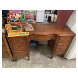 VTG WOOD CURVED FRONT DESK
