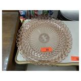 LARGE VTG SLIGHT PINK CAKE PLATTER