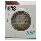 1898 BARBER SILVER HALF DOLLAR COIN