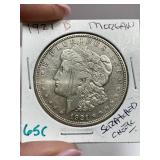 1921-D MORGAN SILVER DOLLAR COIN