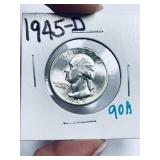 1945-D WASHINGTON QUARTER HIGH GRADE