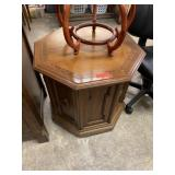 OCTAGONAL END TABLE W STORAGE