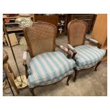 CANE BACK UPHOLSTERED ARM CHAIRS