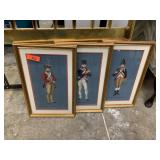 LOT OF EMBROIDERED SOLDIER FRAMED WALL ART