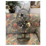 METAL WALL BIRD CAGE DECOR