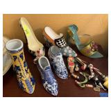 LOT OF DECORATIVE ITEMS / SHOES / MISC