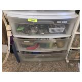 3 DRAWER BIN W JEWELRY MAKING ITEMS