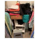 LOT OF CLOTHES SMALL SHELF & STOOL