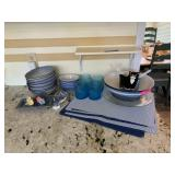 LARGE LOT OF BLUE DISHES / PLACEMATS MORE