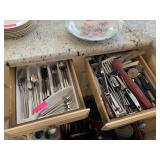 2 DRAWERS OF UTENSILS/ KNIVES / MORE