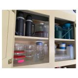 LARGE CABINET OF GLASSWARE / MISC