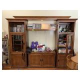 LARGE TV CABINET W BOOKCASE / SHELVES / LIGHTING