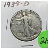 1939-D WALKING LIBERTY SILVER HALF DOLLAR