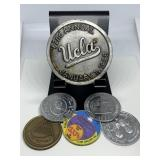 LOT OF MISC TOKENS AND LOUPE