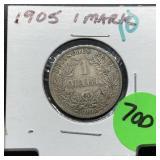 1905 SILVER 1 MARK COIN BETTER GRADE