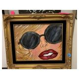 POP ART STYLE ORIGINAL PAINTING IN GOLD FRAME