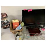 LOT OF MISC DECOR AND FLAT SCREEN MONITOR
