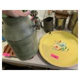 3PC DECORATIVE MILK CAN AND LARGE METAL TRAYS