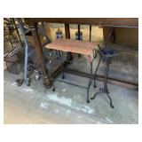 SMALL WICKER IRON STOOL AND CANDLE HOLDER