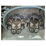 IRON ROOSTER CANDLE HOLDERS