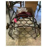 IRON WINE RACK AND MISC LINENS