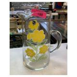 VTG YELLOW FLOWER ON CLEAR GLASS PITCHER