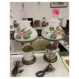 2PC FLORAL HAND PAINTED MILK GLASS LAMPS