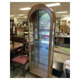 ARCHED MIRRORED BACK GLASS SHELF CURIO CABINET