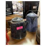 2PC GRANITEWARE CAMP COFFEE POTS