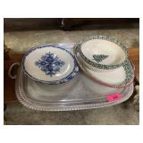 LOT OF MISC SILVERPLATE TRAY / DISHES