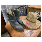SZ 12 R JUSTIN COWBOY BOOTS AND HATS