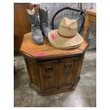 OCTAGONAL END TABLE STORAGE