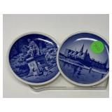 2PC ROYAL COPENHAGEN DENMARK BLUE & WHITE