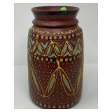 LG HAND PAINTED VASE MADE FROM SINGLE PC OF WOOD