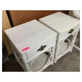 2PC WHITE WICKER DRAWER WND TABLES