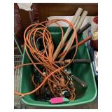 LARGE BIN OF MISC TOOLS / POWER CORDS