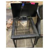 TV MONITOR / END TABLE W GLASS TOP