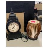 CLOCK AND SMALL LAMP