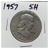 1957 FRANKLIN SILVER HALF DOLLAR