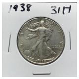1938 WALKING LIBERTY SILVER HALF DOLLAR