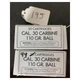 30 cal carbine 110 gr ball 2 boxes