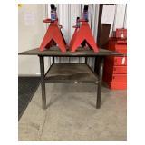 Heavy steel table with 2 wheels welding