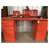 Red steel work table with drawers