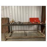 Steel heavy shop table on casters welding table