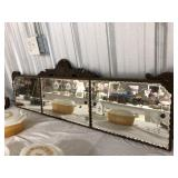 Antique etched mantle mirror