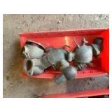 Box of Brass Marvel Schebler Carburetors and Parts