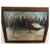 Winter cabin painting