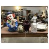 Misc glass and pottery clown